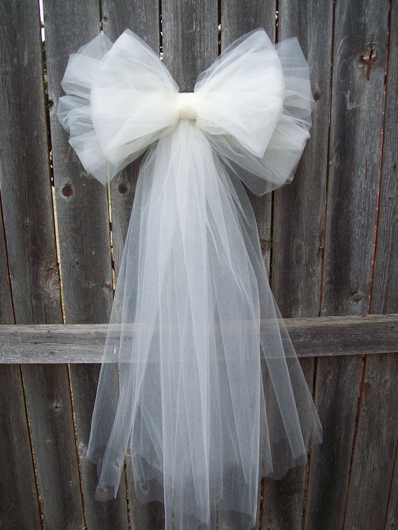 Tulle pew bow over 20 colors tulle church pew decor tulle tulle pew bow over 20 colors tulle church pew decor tulle pew bow quinceanera decorations formal wedding aisle decor communion junglespirit Choice Image