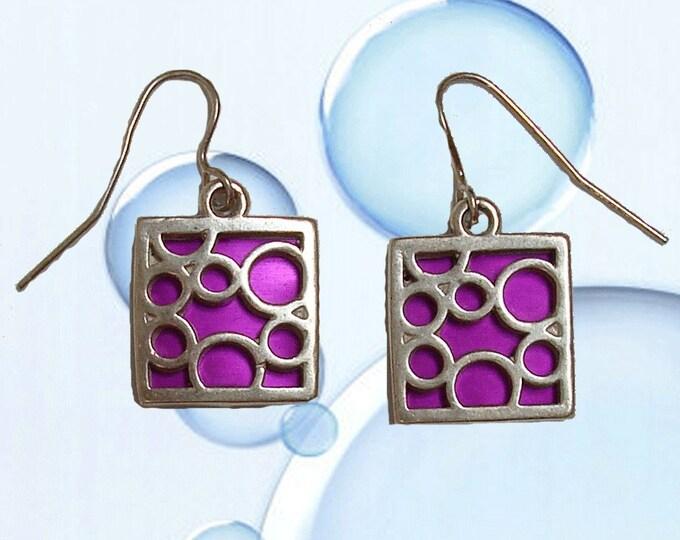 small square bubble earrings