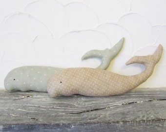 Whale - polkadots - cute stuffed animal - fabric decoration / soft sculpture / toy - 2 variations
