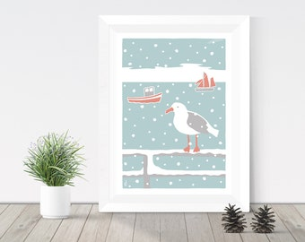 Coastal print, Seagull in the snow, Devon illustration, seaside print, fishing boat giclee print