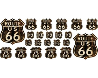 Route 66 Distressed Wall Decal Sheet Of 20 #47619