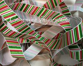 7/8 Christmas Stripe Green Glitter on White US Designer ribbon