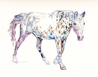 """Original Acrylic Horse Painting, 9"""" X 12"""", Fun Colors, Impressionist Style, Animal Painting, Equine Art, Children's Room"""