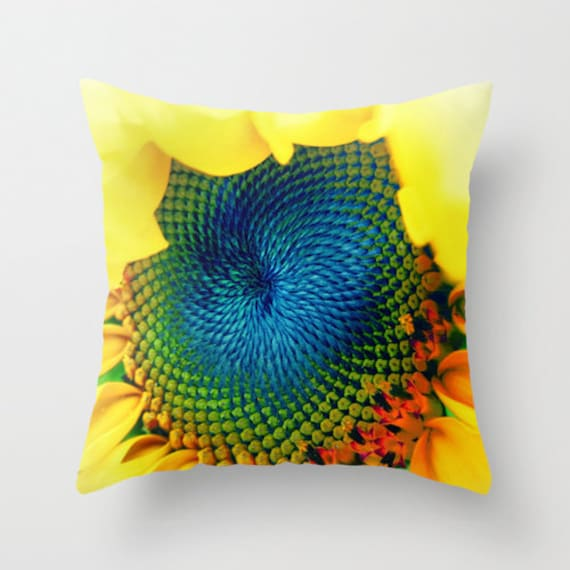 Throw Pillow, Sunflower Pillow, 16x16, 18x18, 20x20, Decorative Pillow, Yellow Pillow, Vivid, Bold, Cover, Cushion, Wedding Gift, Sunny,Blue