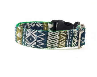 Green Tribal Boho Bohemian Aztec Navajo Dog Collar, Dog Collar, Dog Collars for girls, Dog Collars for boys, summer spring