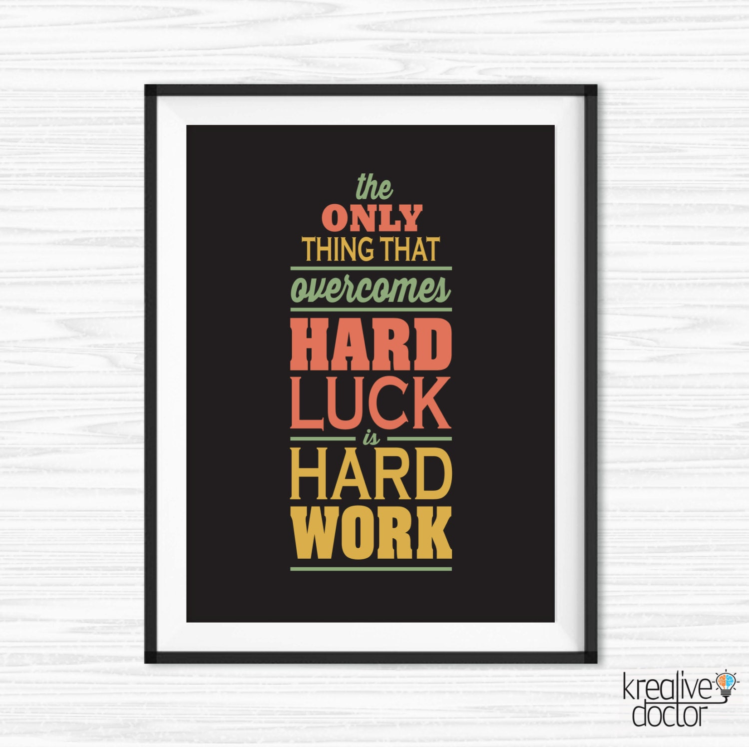 Work Hard Quote Office Wall Art Motivational Wall Decor