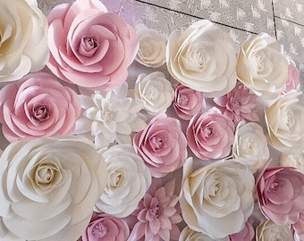 Flower backdrop etsy paper flower backdrop wedding backdrop large paper flowers mightylinksfo Choice Image