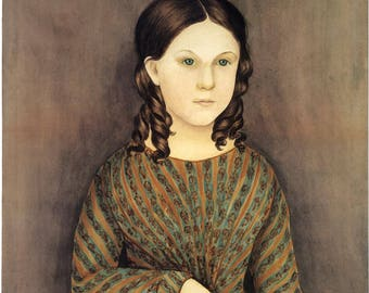 American Folk Art Reproduction -  Images of Americana: Girl in Calico, c. 1840. Fine Art Print.