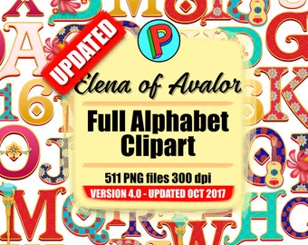 Princess Elena - Elena of Avalor - Updated October 2017 - Full Alphabet Clipart - 14 Designs 14 Full Alphabets - 511 png files 300 dpi