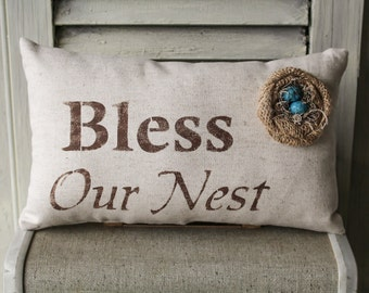 Bless Our Nest Decorative Pillow Decor Pillow Simple Pillow Spring Pillow burlap pillow fabric pillow home decor 15x10 accent pillow