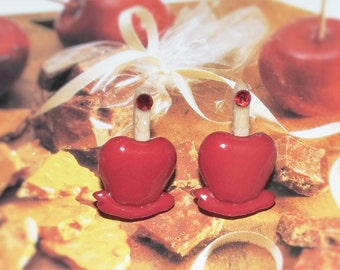 Handcrafted Novelty Red Candy Apple On A Stick Post Earrings
