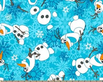 Disney FROZEN, Olaf Winter Snowflakes Flannel Cotton Fabric, Yard