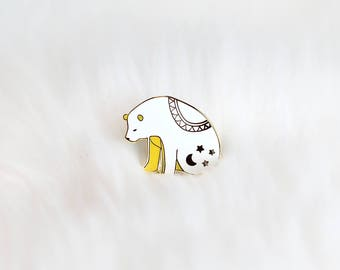Starry Night Bear Hard Enamel Pin / Star Pins / Enamel Pins / Cute Enamel Pins / Bear Enamel Pins