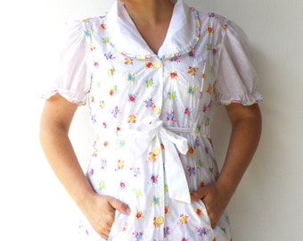 Vintage 1970s Peignoir / Sheer Dressing Robe / Size M L