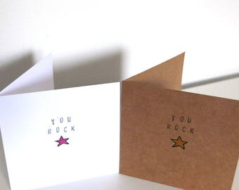 Mini Stamp Card - YOU ROCK. Free UK P+P.