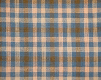 Homespun Fabric | Large Check Fabric | Cotton Fabric | Rag Quilt Fabric | Blue, Natural And Khaki Plaid Fabric | Primitive Fabric