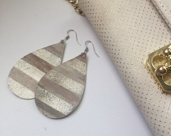 Silver shimmer neutral earrings