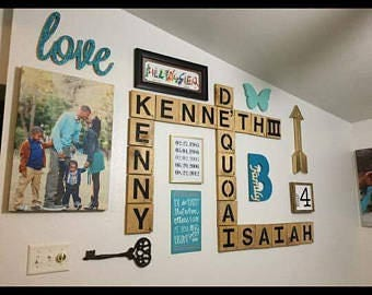 Scrabble wall art, family names, personalized, large letters, wood tiles