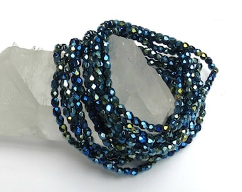4mm Crystal - Blue Iris - Czech Glass - Fire Polished Crystal - Faceted Round -  50 Beads
