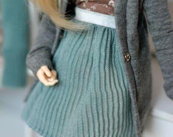 Plisee skirt blue minifee slim msd bjd