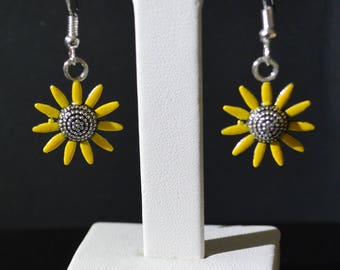 Hand painted Yellow sunflower Silver plated Earrings
