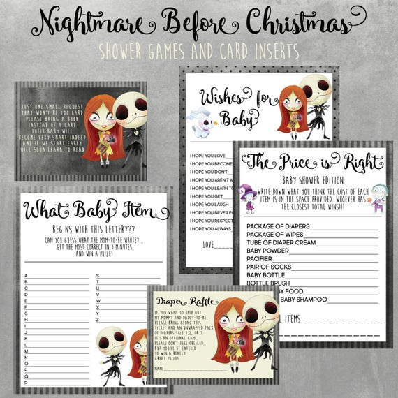 Nightmare Before Christmas Baby Shower Games Bundle Instant