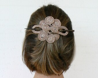 Wire hair fork, Swirl Curly Hair fascinator, Stick barrette, Copper Hair slide, Scarfpin brooch, Headdress, Sparkly clamp, Large hair clip