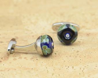 Lampwork Glass artisan beads Cufflinks