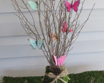 Butterfly Centerpieces, Bridal Shower Centerpieces, Wedding Centerpieces Butterfly, Moss and Butterflies Party decor
