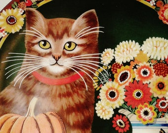 Charming 1984 PUMPKINS Thaddeus Krumeich Uncle Tad's Holiday Cats Collector Plate for Anna Perenna - Bavaria