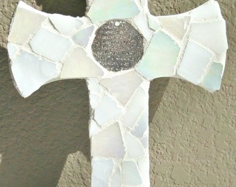 glass mosaic cross wallhanging, silver inspirational word inlay, white and off white mosaicked cross