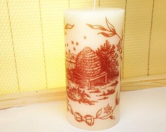 Bee Decor, Bee Candle, Beekeeper Gift, Bee Lover Gift, Bee Decorations, Beehive Decor, Bee Skep Image, Gardner gift, Bee Gift, Gardener Gift