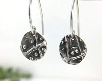 Silver Dangle Earrings • Small, Circle, Lightweight