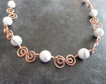 Copper and White Howlite Necklace, Hammered Copper, Copper Necklace, Hammered Copper Necklace, White Howlite, Howlite Beads, White Beads