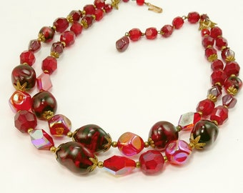 Vintage Red Art Glass Bead Necklace Double Strand 1950s Jewelry
