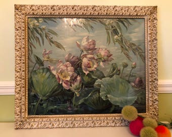 """SaLe! LOTUS LAND MAGIC, Framed Glass by Maria Berger Smeraldi, Vintage Print, 28""""x22 """" Tropical, Shabby, Romantic, Garden at Ageless Alchemy"""