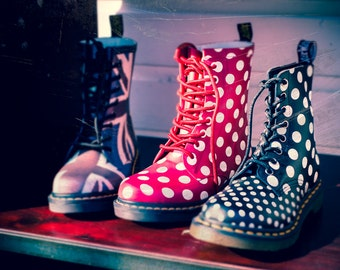 Still life photo, Doc Martin Boots, Polka Dots, Goth, 8 x 10 Fine Art Print, shoe art, retro, 80s fashion, Wall decor, Steampunk, Fashion