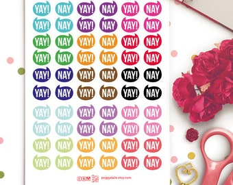 YAY NAY Mini Speech Bubbles Planner Stickers |