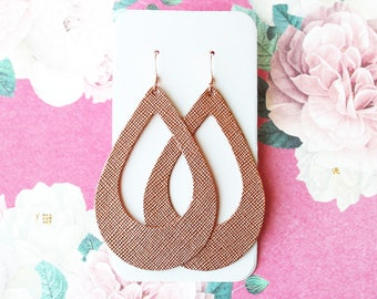 Rose Gold Cut Out Leather Drop Earrings, rose gold earrings, leather earrings, tear drop earrings, the leather drop