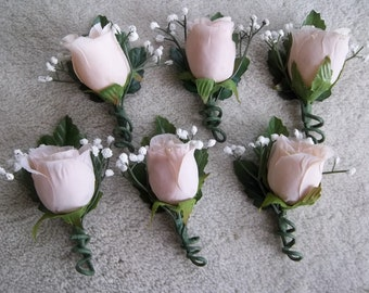 Set of Six Beige Boutonnieres for Eight Dollars