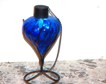 "Oil Lamp, Cobalt Blue Glass and Black Iron (4 Pieces) including Snuffer on a Chain Fully Operational 9"", Early 90's"