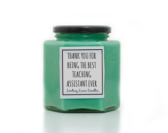 Teaching Assistant Gift, Thank you Teaching Assistant Gift, Scented Candle, Apple Scented Candle, Gift For Teaching Assistant, TA Gift