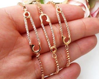 Gold safety pin bracelet, adjustable bracelet safety pin, rose gold safety pin jewelry, safety pin zirconia bracelet, zirconia jewelry