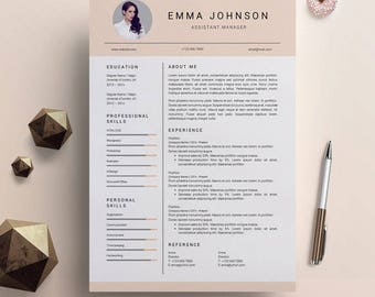 Creative Resume Template for Mac and PC, Cover Letter Design, Professional CV Template, Modern Resume Template for Word, Instant Download