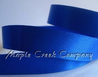 "Royal Blue Double Face Satin Ribbon, 5 Widths Available: 1-1/2"", 7/8"", 5/8"", 3/8"", 1/4"""