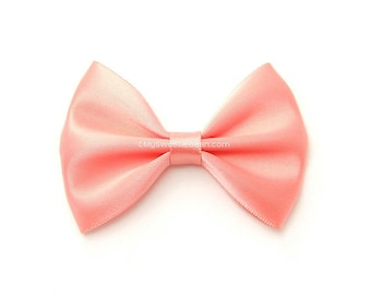 Coral Hair Bow, 3 Inch Bow, Satin Hairbow, Toddler Hairbows, For Girls, Babies, Women