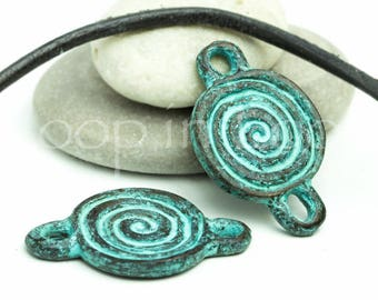 25%OFF Round Spiral connector, Geometric Mykonos Casting, Green Patina on copper, Earring connectors, two Loop Boho charms Links (2pcs)