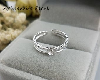 zircon sterling silver ring setting, heart arrow zircon,double ring mounting, simple,fashion and elegant, jewelry DIY, gift DIY, two colors