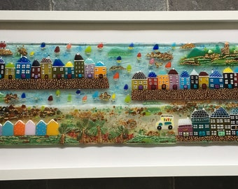 Fused glass, Cornish seaside harbour, houses, boats, poldark, beach huts framed art, coastal art, home decor, bathroom art, fused glass art,