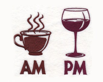 AM Coffee PM Wine Tea Towel | Embroidered Kitchen Towel | Embroidered Towel | Personalized Kitchen Towel | Embroidered Tea Towel |Hand Towel